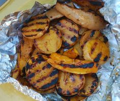 Grilled Squash-- used yellow squash and basted with olive oil, salt and pepper