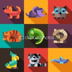 Набор иконок геометрические животных плоский дизайн — стоковая иллюстрация…