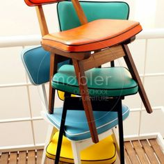Vintage Retro Style Chairs by Mobler - love the contrast piping. Keep in mind for new old chairs.