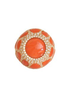 Trendy Diamond Rings : London Jewelers Collection 18K Rose Gold Red Coral and Diamond Dome Ring at Lon