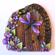 Purple Dragonfly Fairy Door Pixie Portal Fairy Garden by Claybykim