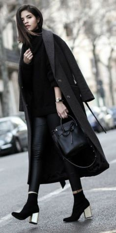 black + fashion favorite + Adriana Gastelúm + work it + mixing textures and tones.  Coat: & Other Stories, Turtleneck: Bebe, Leggings: Premonition Design, Boots: Senso, Bag: Mansur Gavriel, Watch: CLUSE.... | Style Inspiration