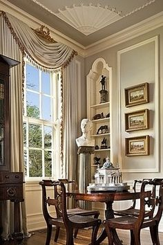 high ceilings allow for tall sash windows.   Enough beauty in that room to keep me in it all the time