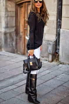 Love this look!! I have the boots just need the white pants and black blouse!!