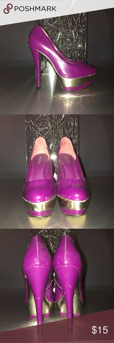 Purple Pumps with Silver Platform Purple Pumps with Silver Platform 5.5 in heel with 2 inch Platform Minor wear at heel and soles Aldo Shoes Heels