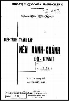 Luận Văn Tốt Nghiệp - Diễn Trình Thành Lập Nền Hành Chính Đô Thành   Sách Việt Nam