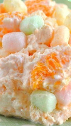 Salad Fruit Fluff Salad Recipe ~ Its fluffy, light, and packed with delicious flavor.Fruit Fluff Salad Recipe ~ Its fluffy, light, and packed with delicious flavor. Fluff Desserts, Jello Recipes, Dessert Salads, Köstliche Desserts, Delicious Desserts, Dessert Recipes, Yummy Food, Easter Desserts, Easter Food