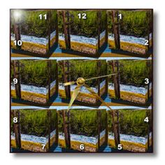 3dRose - Jos Fauxtographee- 3D Tiles - Scenery at the Snake River in Yellowstone in a 3D Repousse Tile - Wall Clocks