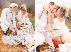 seance engagement champ lavandes picnic Provence Bohême chic
