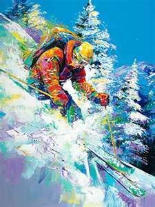 Downhill Skier - by Malcolm Farley - (winter, snow, art, illustration)