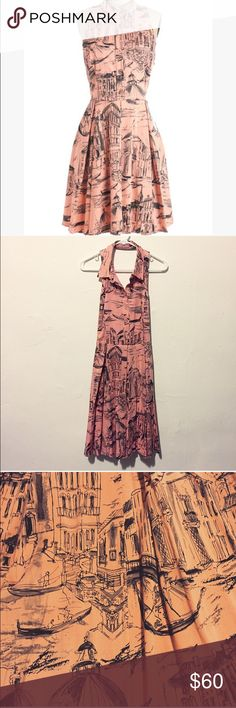 """Venice Dress Ciao About That Dress in Venice from ModCloth. Light pink-coral background with a stunning drawing style scene of Venice. Full, A-line skirt and open back. 97% cotton, 3% spandex. Fully lined. 40"""" long. ModCloth Dresses"""