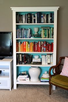 Love her adaptations to the Ikea Lack bookcase!   diy bookshelves, plans modified from ana white.