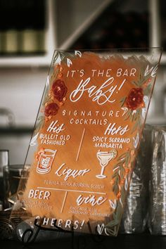 Wedding bar sign - His and hers specialty cocktails with acrylic orange bar sign with florals for a special pop of color Letters & Dust Peachy Keen Coordination Monique Serra Photography peachykeencoordination s Wedding Goals, Boho Wedding, Wedding Blog, Rustic Wedding, Wedding Planning, Dream Wedding, Wedding Day, Wedding Trends, Decoration Cocktail