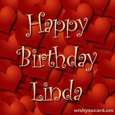 happy birthday Linda hearts card