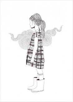 Alice Dufay's little girl b&w illustrations for sale at L'Affiche Moderne