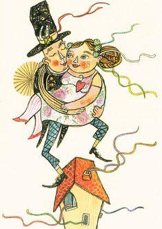 Titel: Bruiloft een postkaart van  Selda Soganci.