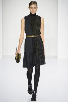 This women's #FW14 silk pleated dress transitions day to night. Shop http://trunkshow.ferragamo.com