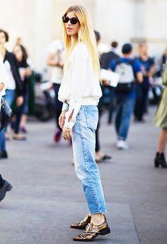 a5816c46a9 jeans street style Camiseta Branca