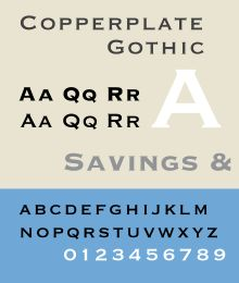 Copperplate Gothic (1901) by Frederic W. Goudy