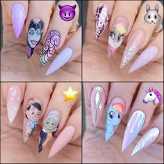 PICK ONE! Which one is your alter ego? Disney Acrylic Nails, Summer Acrylic Nails, Best Acrylic Nails, Disney Nails, Halloween Nail Designs, Halloween Nails, Feather Nails, Fire Nails, Manicure E Pedicure