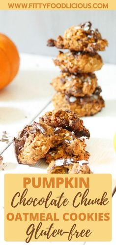 My Pumpkin Chocolate Chunk Oatmeal Cookies are moist in the middle with crispy edges and the chocolate literally melts in your mouth. They are the perfect fall treat and really delicious with a tall glass of ice-cold milk. These delicious cookies are gluten-free and refined sugar-free making the perfect fall treat! #Pumpkin #chocolate #oatmealcookies glutenfreerecipes glutefreecookies #healthydessert #fall #desserts #holidaycookies #chocolatechipcookies #sugarfreerecipes #sugarfreedesserts Sugar Free Cookies, Sugar Free Desserts, Gluten Free Cookies, Yummy Cookies, Fall Cookies, Holiday Cookies, Best Christmas Cookies, Sugar Free Recipes, No Bake Desserts