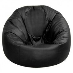 Large Black Leather Bean Bags