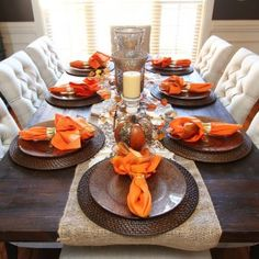 Charmant Fall Dining Pumpkin Centerpiece Kevinandamanda.com Dining Room Table  Centerpieces, Table Decorations, Fall