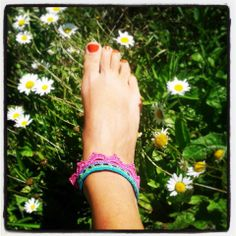 Lotus anklet / bracelet in turquoise, lime, purple & hot pink. 100% cotton ~ Handmade crochet www.facebook.com/thelittlebeenz