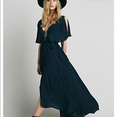 Free People Fiona Maxi dress Effortfully stunning wrap maxi dress in real blue Free People Dresses Maxi