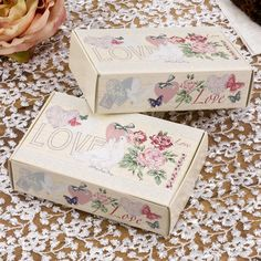 These gorgeous vintage designed cute boxes are perfect for putting sweets and chocolates in as wedding or celebration favours.  These can also be used to present pieces of cake in from you vintage celebration.  Pack of 10 £4.99 from www.fuschiadesigns.co.uk