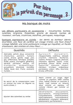 French portrait part 3 French Adjectives, French Verbs, French Grammar, Learning French For Kids, Teaching French, Cycle 3, French Flashcards, High School French, French Classroom