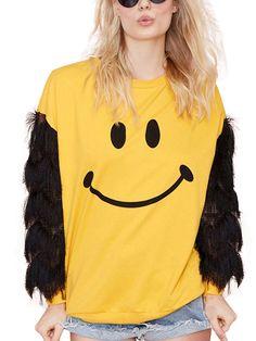 d581a84fa35 Cartoon Smile Face Tassel Sleeves Sweatshirt Sweatshirts Online