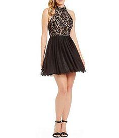 03d5ebf3d9 B. Darlin Mock Neck Lace Bodice A-line Party Dress Hoco Dresses