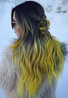 56 Black Yellow Ombre Hair Color Trends for 2018