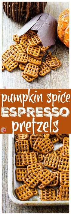I've added a little kick to pretzels to keep you awake through the afternoon slump. Pumpkin Spice Espresso Pretzels will be your new after lunch pick-me-up! Thanksgiving Appetizers, Best Appetizers, Appetizer Recipes, Snack Recipes, Pretzel Recipes, Party Recipes, Potato Recipes, Dessert Recipes, Pumpkin Recipes