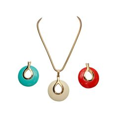 Lanvin Vintage Necklace with Set of 3 Interchangeable Pendants | From a unique collection of vintage drop necklaces at https://www.1stdibs.com/jewelry/necklaces/drop-necklaces/