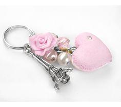 Portachiavi Macaron a cuore e torre Eiffel fimo idea regalo, by Forever AB, 8,00 € su misshobby.com