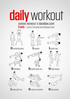 A simple no-equipment workout for every day: nine exercises, ten reps per set. . #fit