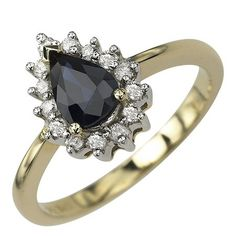 14K Yellow Gold 1cttw Fiery Prong Set Round Shaped White Brilliant Diamond & Pear Shaped Blue Sapphire Gemstone Cocktail Ring   Your #1 Sour...