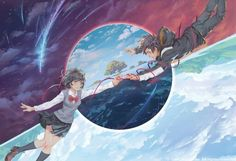 Mitsuha and Taki - Kimi no na wa Kimi No Na Wa, Manga Anime, Film Anime, Anime Art, Mitsuha And Taki, Chibi, Garden Of Words, Your Name Anime, Natsume Yuujinchou