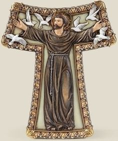 Saint Francis With Birds Tau Wall Cross – Beattitudes Religious Gifts