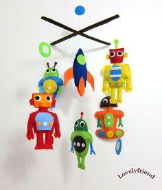 "Baby Crib Mobile - Baby Mobile - Felt Mobile - Nursery mobile - "" Colorful Robots "" Design (Custom Color Available). $88.00, via Etsy."