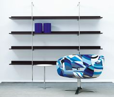 Rive Droite, designed by Patrick Norguet, is a swivel chair for Cappellini. Pop Design, Contemporary Armchair, Contemporary Furniture, Wall Mounted Shelves, Wooden Shelves, Unique Furniture, Furniture Design, Patrick Norguet, Pop Art