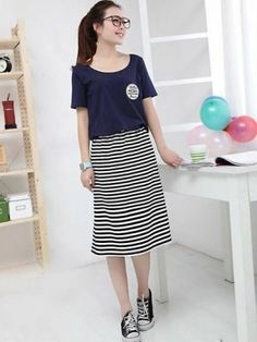 Korean Trendy Color Block Short Sleeve False Two-piece Dress