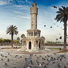 Izmir Clock Tower is located at Konak Square in Konak district of Izmir in Turkey
