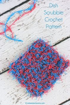 "No toole or netting needed with this pattern! So easy and fast and holding 2 colors together really helped make the stitches easier to pick out due to the way this yarn is made w all the little ""dangly fuzzy bits"" Scrubbies Crochet Pattern, Crochet Potholders, Easy Crochet Patterns, Knit Or Crochet, Crochet Crafts, Yarn Crafts, Knitting Patterns, Crochet Ideas, Crochet Things"