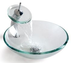 Clear Glass Glass Circular Vessel Bathroom Sink with Faucet Glass Bathroom Sink, Corner Sink Bathroom, Glass Vessel Sinks, Pedestal Sink, Best Bathroom Flooring, Sink Top, Bowl Sink, Amazing Bathrooms, Clear Glass