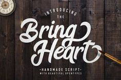 The Bring Heart is stylish retro-modern script. Comes with a lot of  beautiful opentype features, Bring Heart is very good for branding  projects, product packaging, homeware design,or simply as a stylish text overlay to any background image.