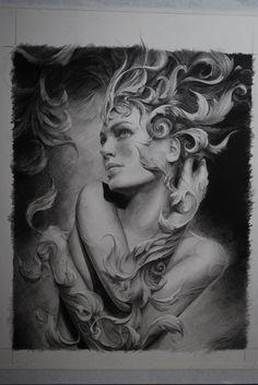 Pencil drawing by Carlos Torres Tattoo Sketches, Tattoo Drawings, Drawing Sketches, Lady Drawing, Sketching, Bild Tattoos, Desenho Tattoo, Skin Art, Surreal Art