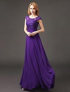 Γραμμή Α Scoop Neck Μακρύ Σιφόν Φόρεμα Παρανύμφων με Διακοσμητικά Επιράμματα με LAN TING BRIDE®